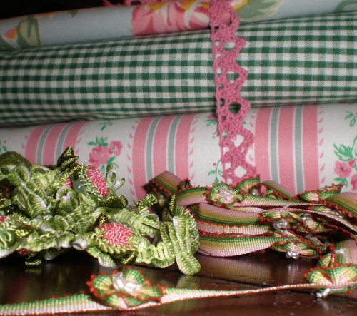 Green and White Woven Cotton, Vintage Ticking and Trims