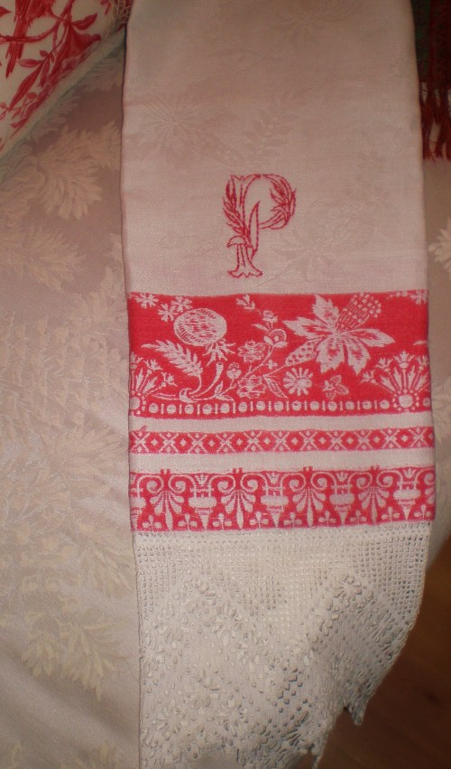 Redwork Damask with Monogram P and 6 Inch French Lace