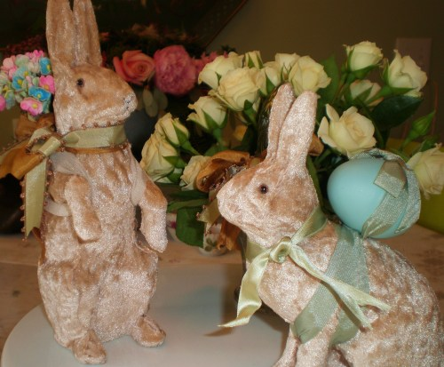 Sweet Velvet Bunnies Making Spring Deliveries