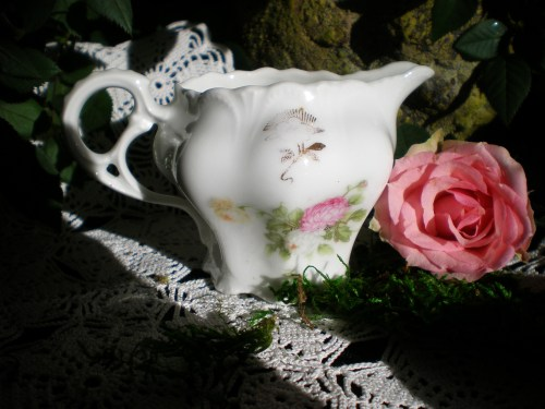 Vintage Creamer and a Rose