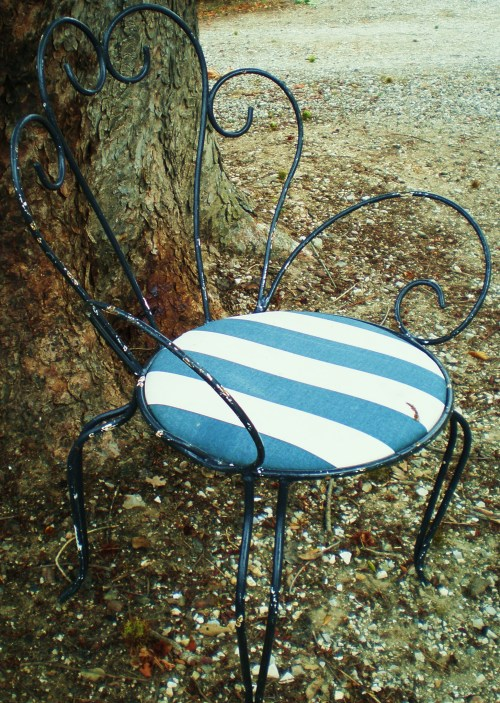 Blue stripe metal chair