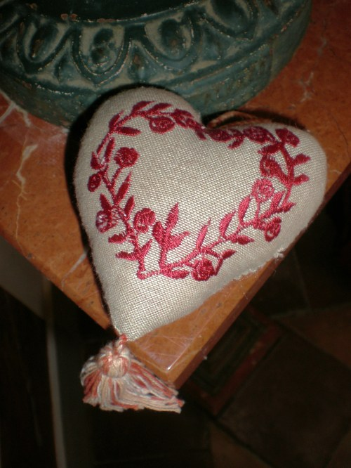 linen heart on marble table FAV
