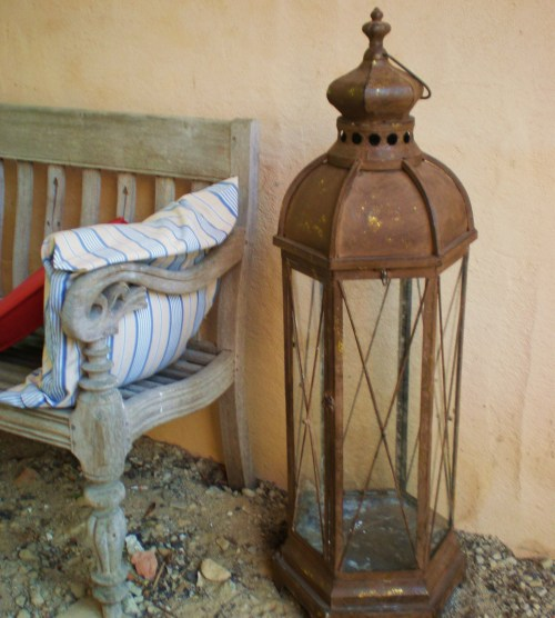 teak bench and lantern carriage house3fav