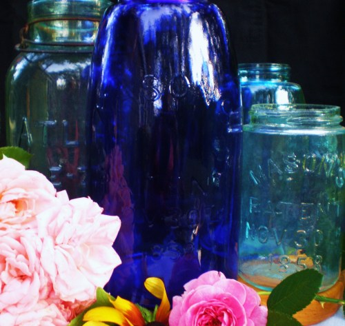Four Blue Canning Jars